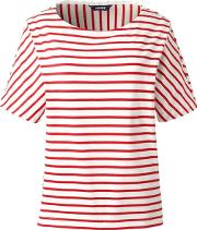 Red Elbow Sleeve Jersey Stripe Top