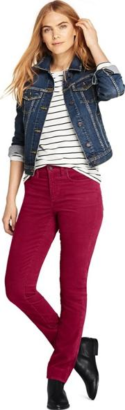 Red Mid Rise Straight Leg Corduroy Jeans