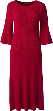 Red Petite Fit And Flare Rib Knitted Dress
