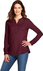 Red Womens Cottonmodal Henley Tunic Top