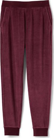 Red Womens Soft Leisure Velour Joggers
