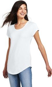 White Petite Short Sleeve Jersey Scoop Neck T Shirt