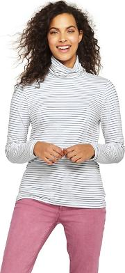 White Plus Cotton And Modal Stripe Roll Neck T Shirt