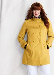 Yellow Plus Double Breasted Cotton Pique Coat