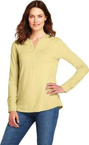 Yellow Womens Cottonmodal Henley Tunic Top
