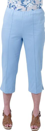 Blue Solid Cotton Sateen Comfort Crop Trousers