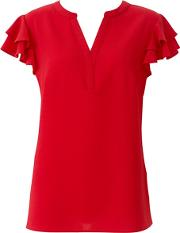 Red Frill Sleeves Blouse