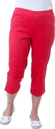 Red Solid Cotton Sateen Comfort Crop Trousers