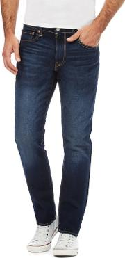 Levis Blue Mid Wash 502 Tapered Jeans