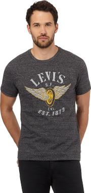 Levis Grey Space Dye winged Wheel Print T Shirt