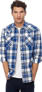 Levis Navy And White Checked barstow Western Shirt