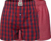 Levis Pack Of Two Red Checked Woven Boxers