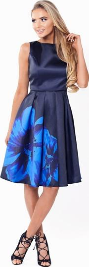 Sistaglam Navy shay Satin Prom Dress With Oversized Floral Print