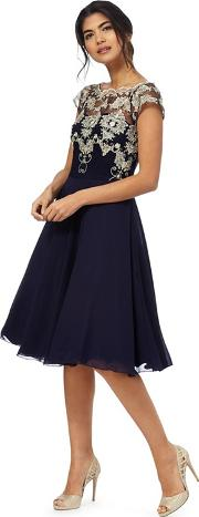Chi Chi London Navy Floral Lace Dress