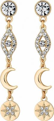 Gold Plated Clear Celestial Mismatch Drop Earrings