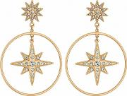 Gold Plated Clear Star Hoop Earrings