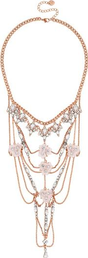Rose Gold Floral Statement Necklace