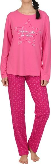 Magenta Star Print Long Sleeve Cotton Pyjama Set