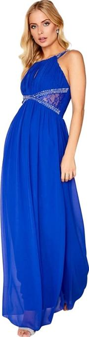 Cobalt Embellished Empire Maxi Dress
