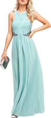 Green Ruched Maxi Dress