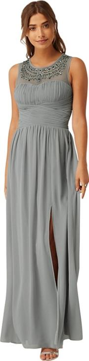 Grey Jewel Neck Maxi Dress