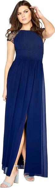 Navy Chiffon Maxi Dress