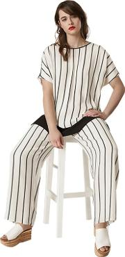 Black And Ivory Stripe Wide Leg Trousers