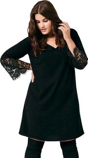 Black Crepe Dress With Lace Sleeves