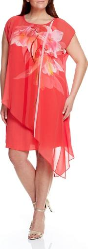 Coral Floral Print Overlay Dress