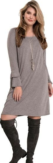 Grey Double Ruffle Sleeve Dress