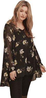Spaced Floral Chiffon Blouse