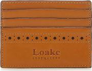 Tan Leather Punched Credit Card Holder