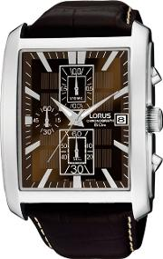 Men's Rectangular Case Brown Dial Leather Strap Watch Rm319bx9