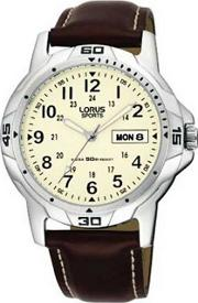 Mens Round Cream Dial With Brown Strap Watch Rxn49bx9