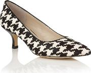 Black Houndstooth Print Leather ginny Courts