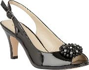 Black Shiny 'elodie' Sling Back Courts