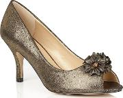 Gold quill Peep Toe Shoes