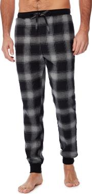 Big And Tall Grey Ombre Effect Checked Pyjama Bottoms