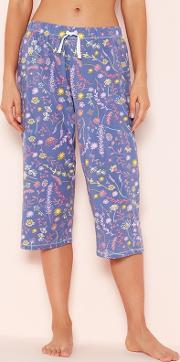 Blue Floral Print Cropped Pyjama Trousers