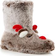 Brown Reindeer Supersoft Faux Fur Slipper Boots