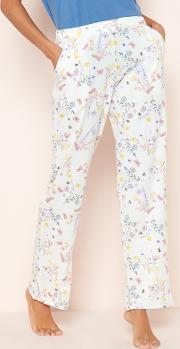 Cream Floral Butterfly Print Pyjama Bottoms
