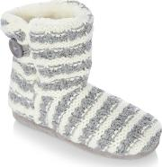 Grey Knitted Stripe Ankle Slipper Boots