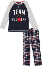 Kids Navy Check Print team Rudolph Cotton Pyjama Set