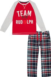 Kids Red Check Print team Rudolph Cotton Pyjama Set