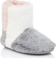 Pink Colour Block Faux Fur Boot Slippers