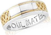 Sterling Silver And 9ct Gold Plated soulmate Gents Ring
