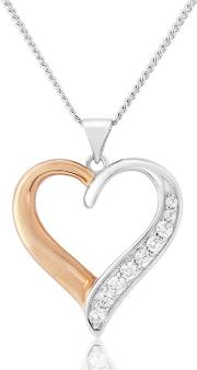 Sterling Silver And Rose Gold Plated Heart Pendant