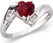 Sterling Silver Created Ruby & Cz Ring