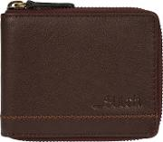 Dark Brown belmount Leather Zip Round Rfid Wallet