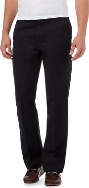 New England Big And Tall Black Regular Fit Chinos